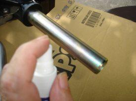 Spay hairspray on handlebar