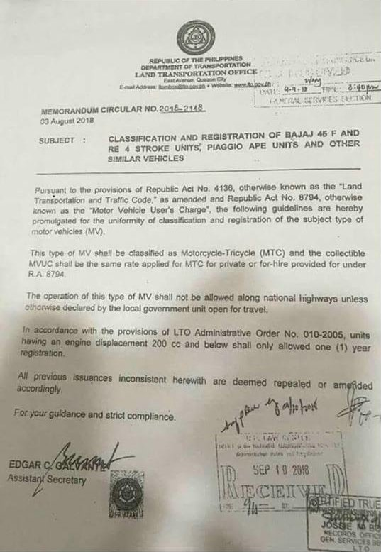 LTO memorandum circular 2018-2148