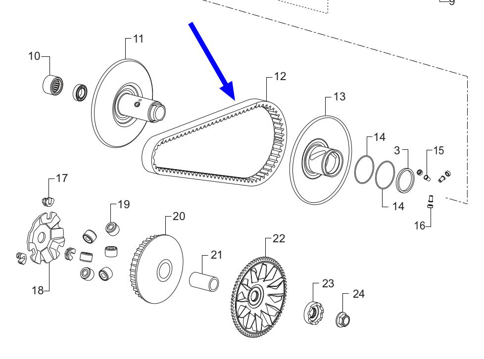 TVS Dazz V-Belt Diagram