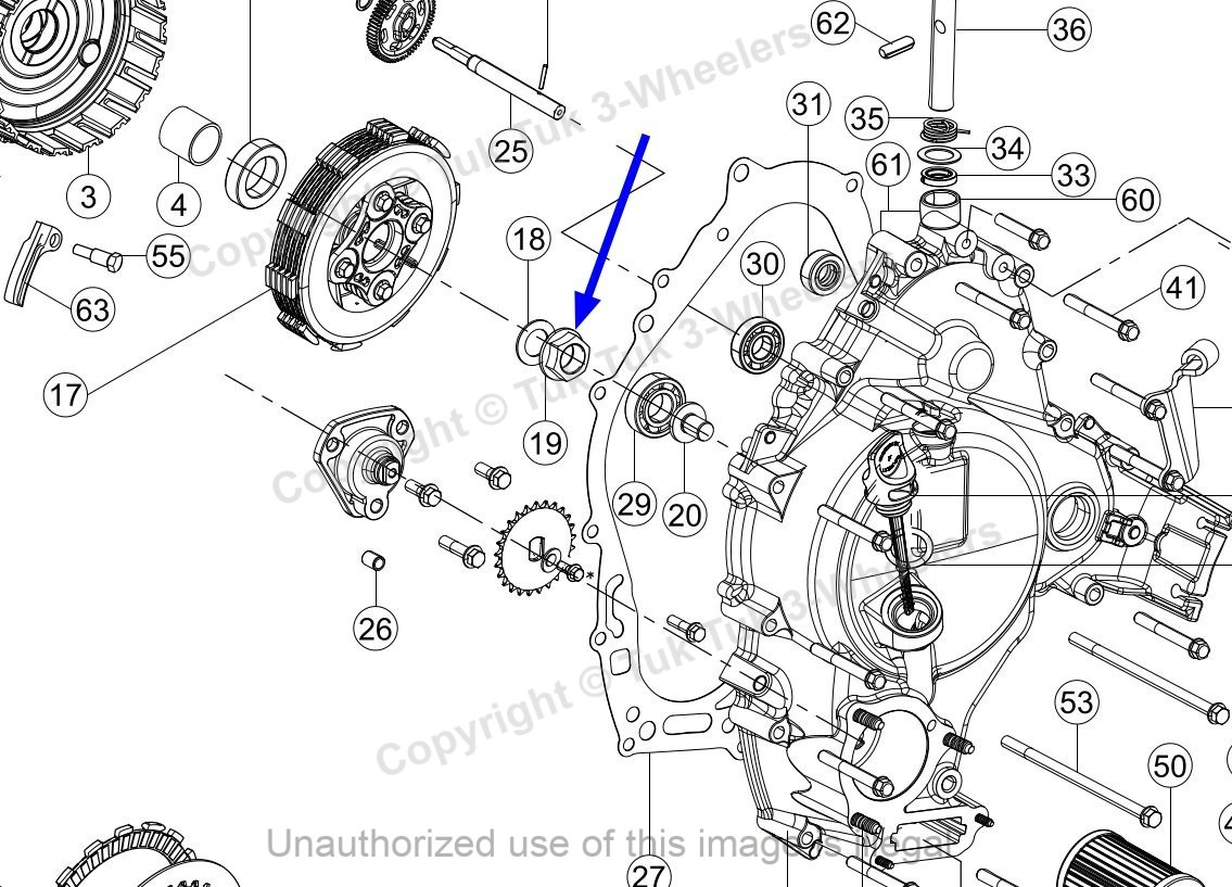 TVS King Clutch Nut M16X1.25