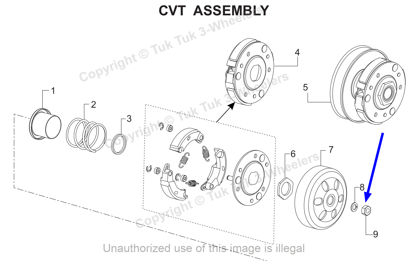 TVS Dazz CVT Assembly HEX NUT M10 8 ZNC TVS Part 420308700