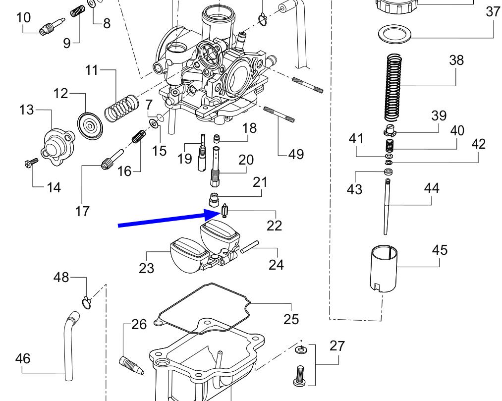 TVS Dazz Carburettor Needle Assembly Genuine TVS Part R1321570