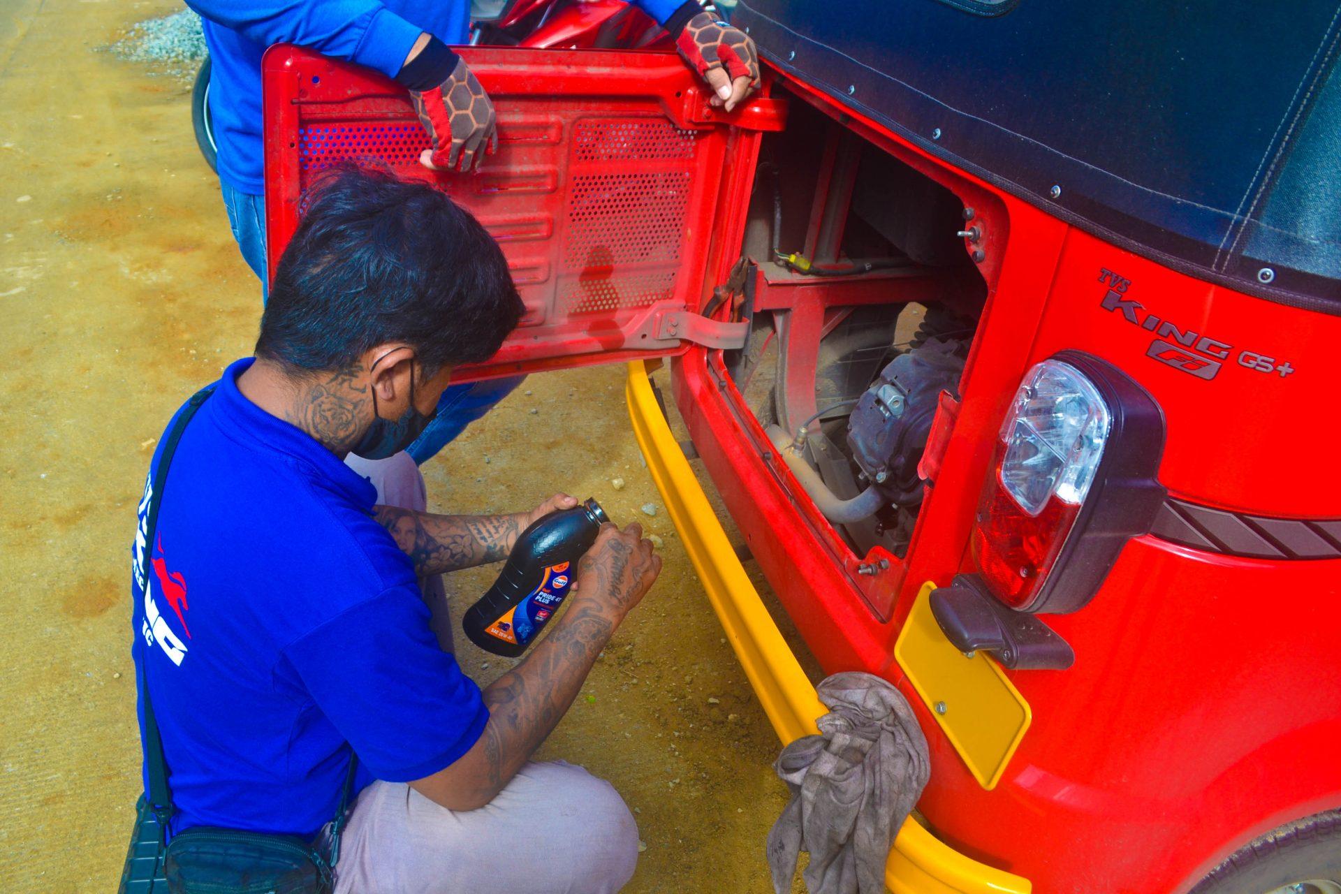 Ken preparing to do an oil change